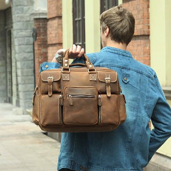 Image of Vintage Handmade Antique Leather Business Travel Bag / Messenger / Duffle Bag / Weekend Bag (n62-4)