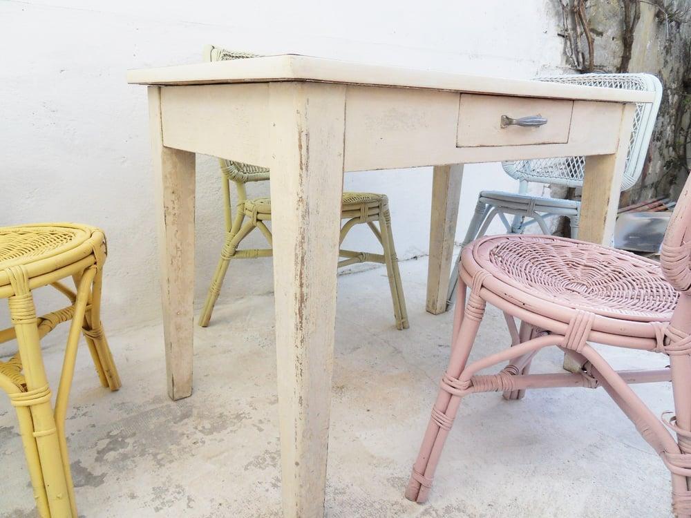 Image of Salle à manger bois rotin