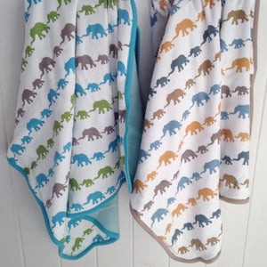 Image of Organic Cotton Elephant Baby Blanket