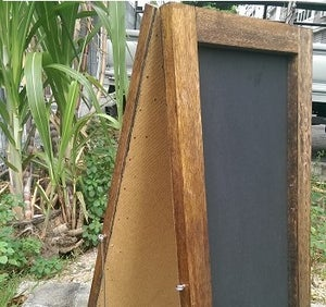 Small Standing Double Sided Chalkboard with Walnut Frame