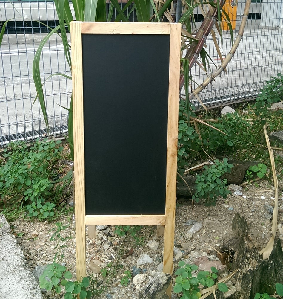 Image of Small Standing Double Sided Chalkboard with Pine wood Frame