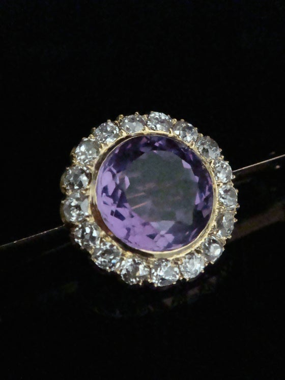 Image of Edwardian original 18ct amethyst and old cut diamond brooch