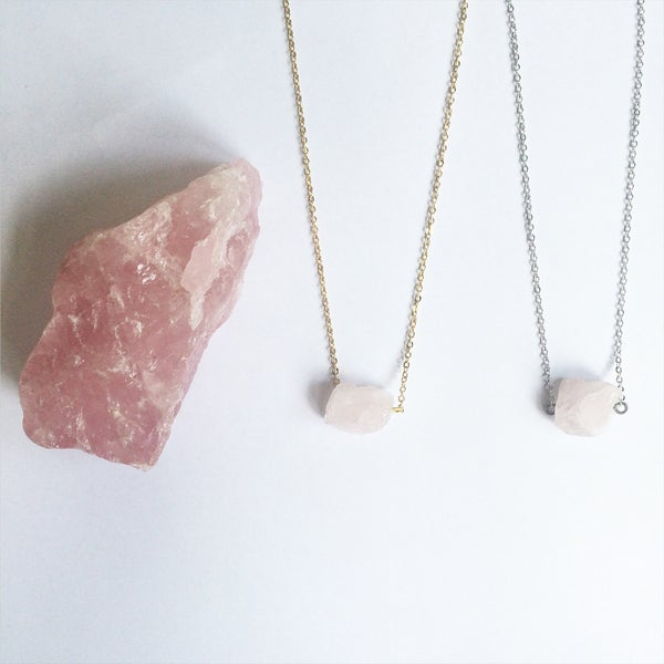 Image of Rose Quartz Nugget Necklace
