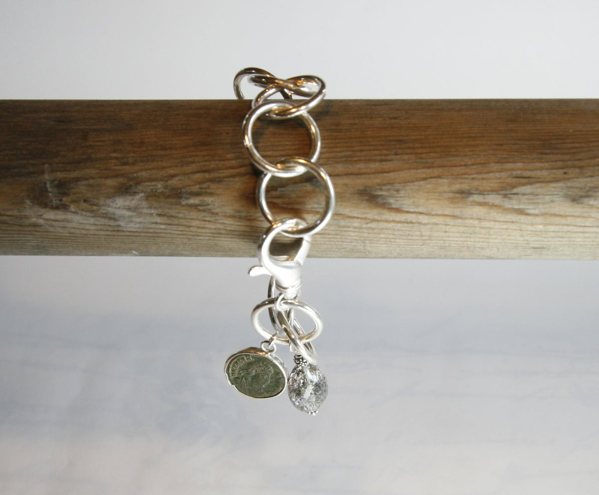 Sterling Silver Chain Bracelet with Ancient Coin