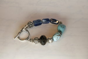 Image of Turquoise, Kyanite and Smokey Quartz Bracelet