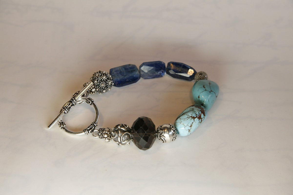 Turquoise, Kyanite and Smokey Quartz Bracelet