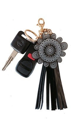 Image of Flower logo and tassel keychain 1 of 2