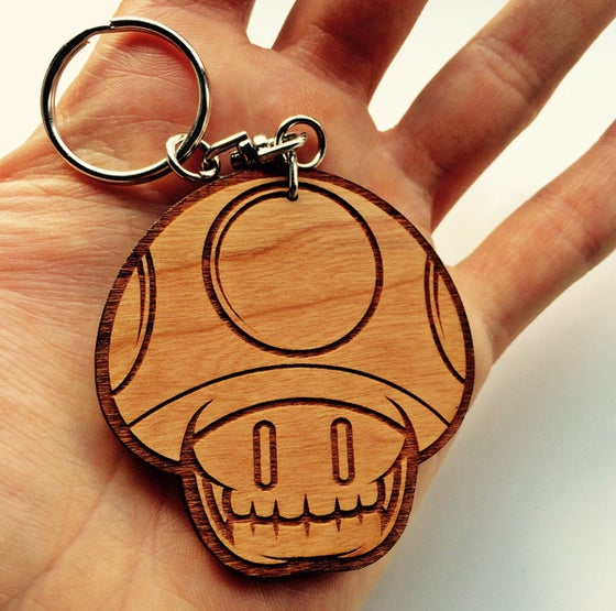 Image of MushySkull Wooden Keyring!