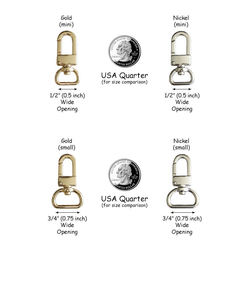 09d0a665c00 Image of Clips for Bag or Luggage Tags - Various Sizes - Attachable Gold or  Nickel