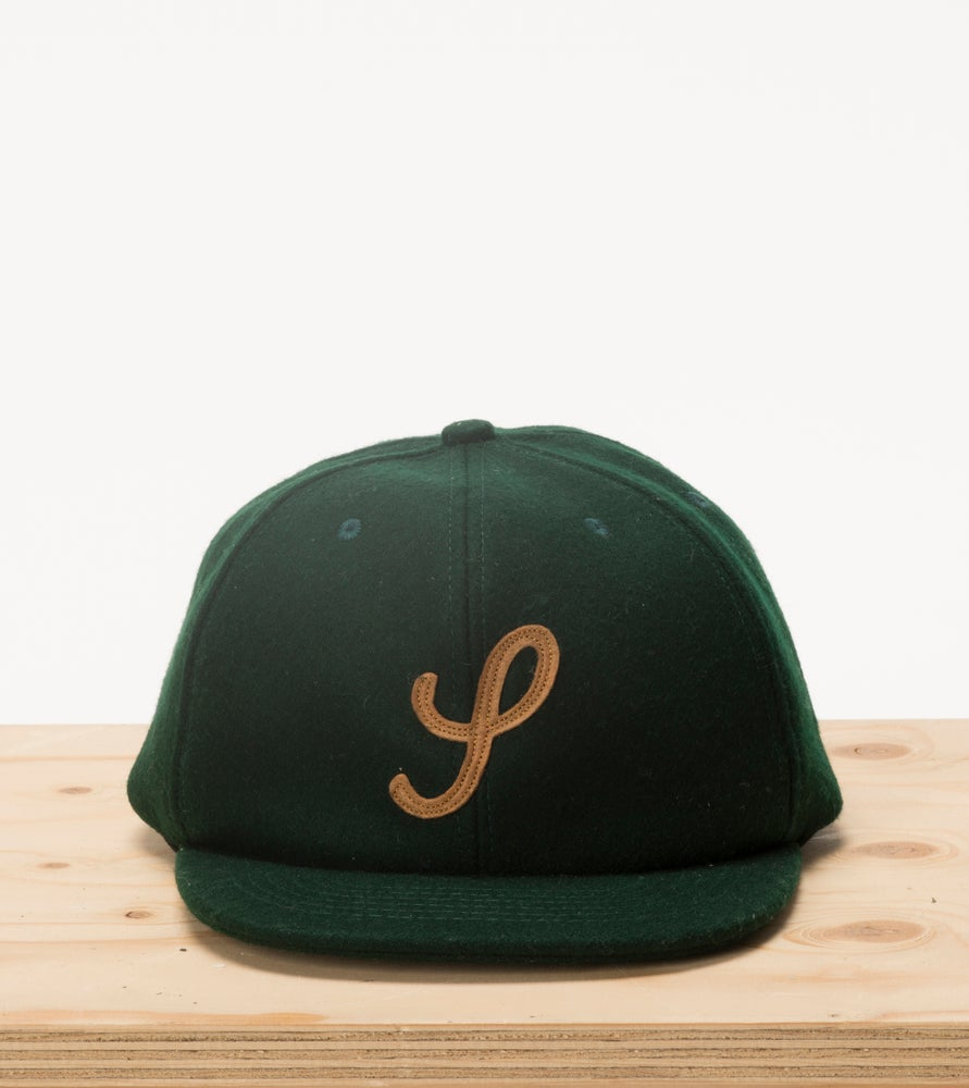 Image of Forest Green & Tan Wool 6 Panel Cap