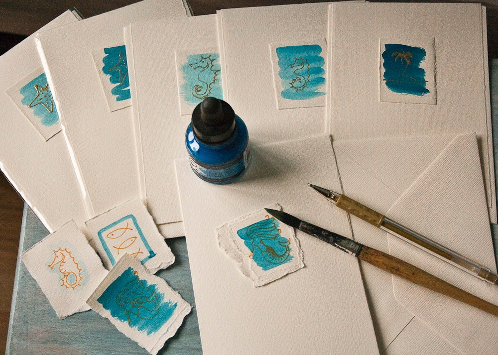 Image of Hand painted one-off greeting card Fabriano watercolour paper