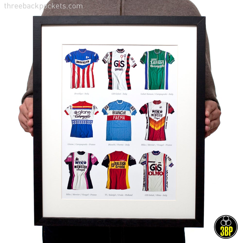 Image of Nine iconic cycling jerseys print
