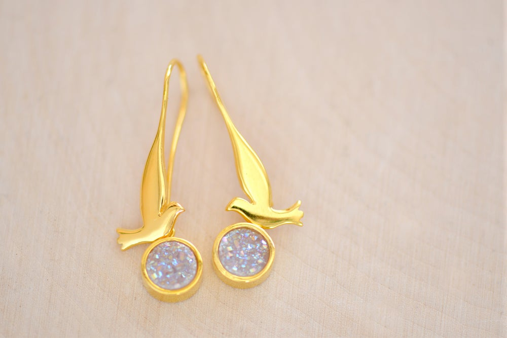 Image of Dove with Sparkly AB White Druzy Dangling Earrings - Bird Earrings - Druzy Earrings