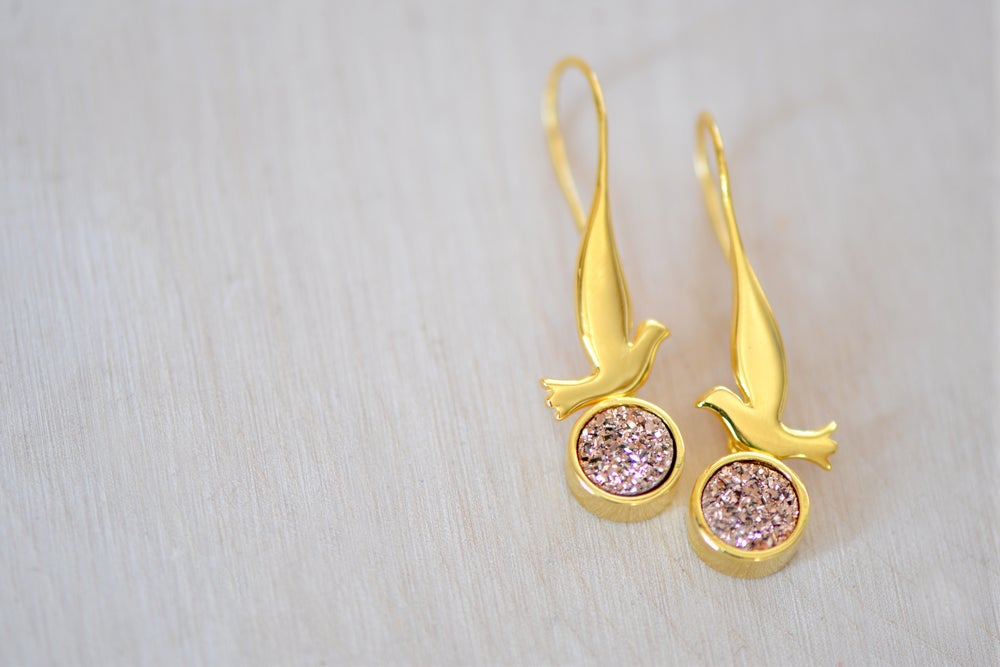 Image of Dove with Sparkly Rose Gold Druzy Dangling Earrings - Bird Earrings - Druzy Earrings