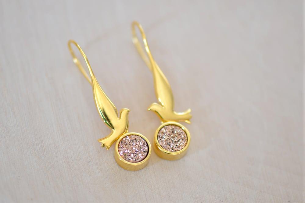 Image of Dove with Sparkly Rose Gold Druzy Dangling Earrings - Bird Earrings - Druzy Earrings