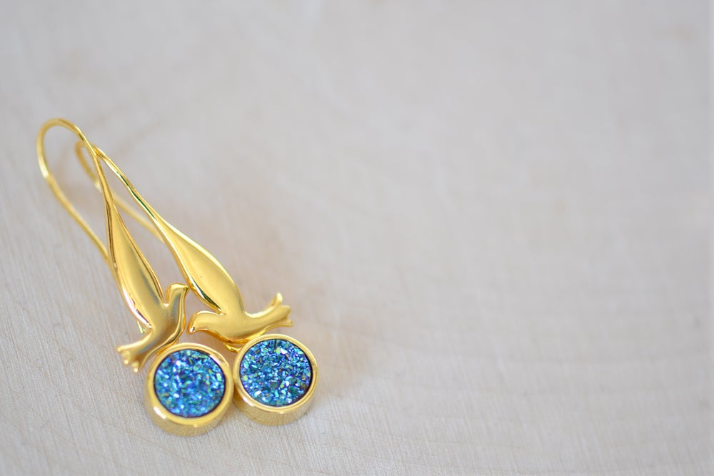 Image of Dove with Sparkly Blue Druzy Dangling Earrings - Bird Earrings - Druzy Earrings