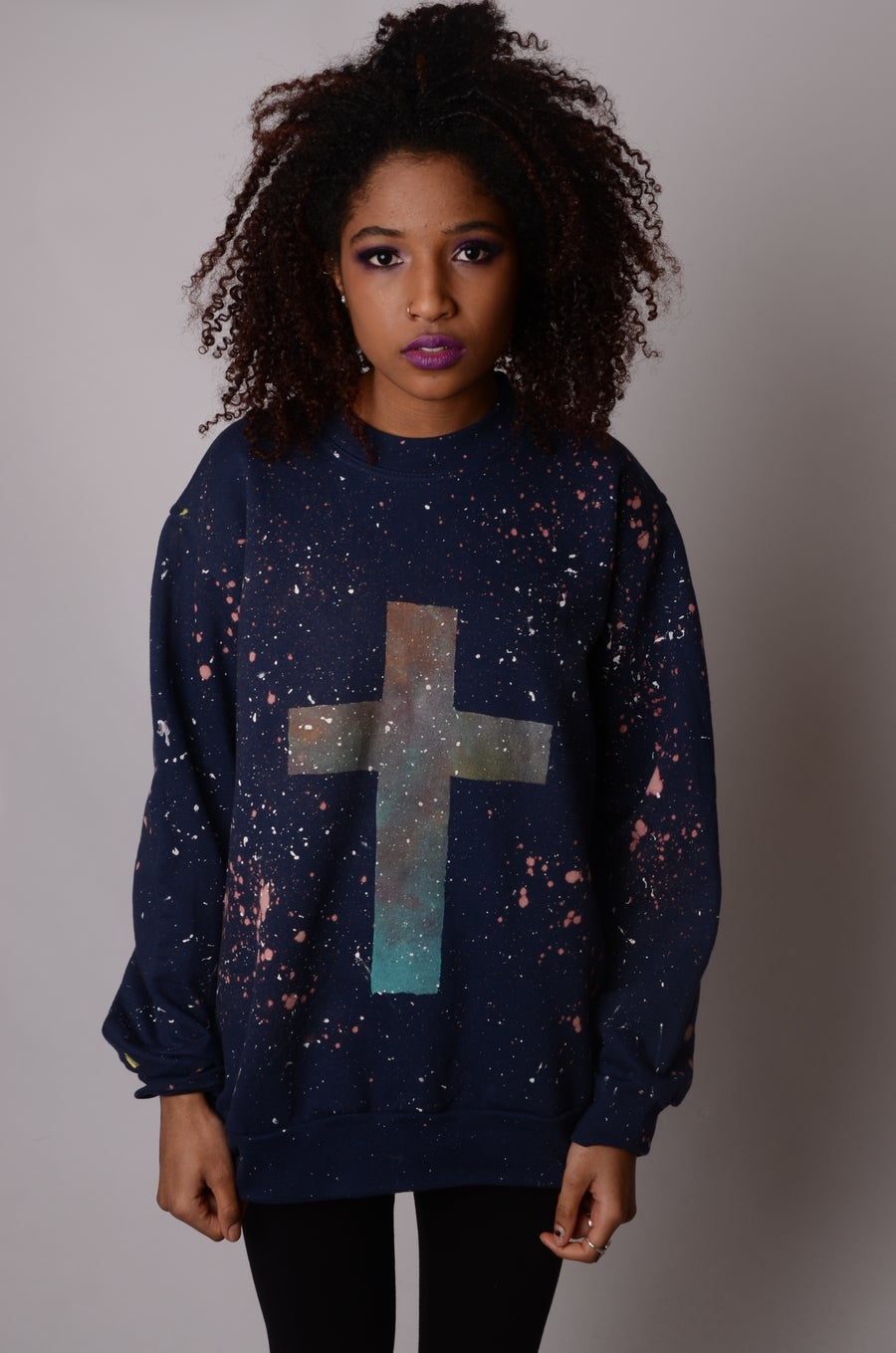 Image of Hand Painted Unisex Celestial Cross Crewneck Sweatshirt