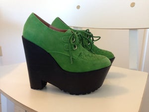 Image of Jeffrey Campbell Watley Wedge Platform Green Suede Size 6
