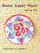 Image of Round Zipper Pouch Sewing Kit - Red floral