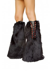 Image of fur boot covers with crisscross detail