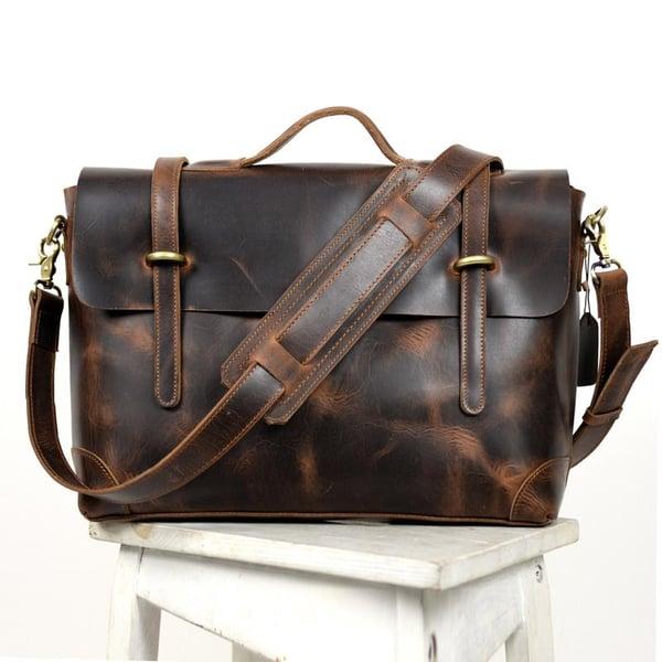 """Image of Vintage Handmade Antique Leather Briefcase / Messenger / 13"""" MacBook 14"""" Laptop Bag (n362)"""
