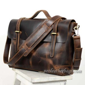 "Image of Vintage Handmade Antique Leather Briefcase / Messenger / 13"" MacBook 14"" Laptop Bag (n362)"