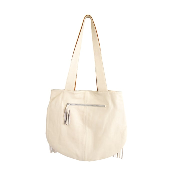 Image of AGUILA BOHO FRINGE LEATHER TOTE BAG