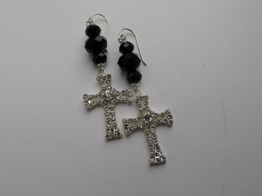Image of E012 - Diamante cross earrings
