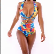 Image of Neon Tropics Wrap Swimsuit