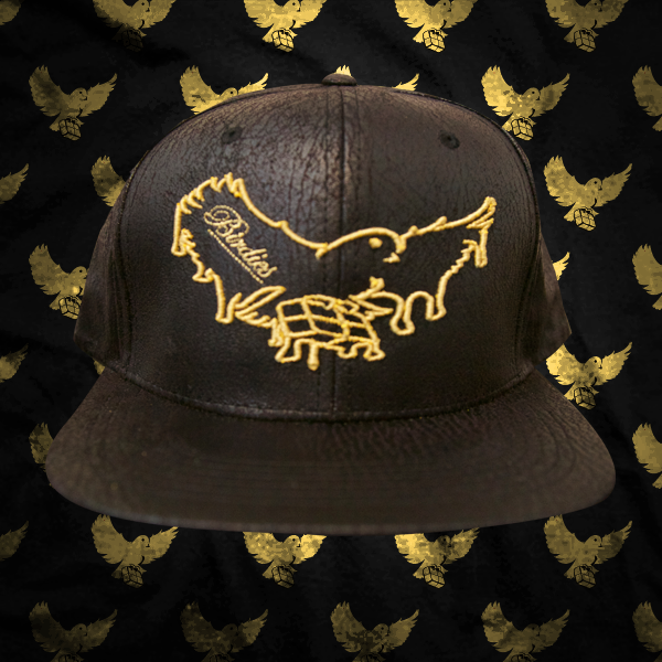 Image of Brown/Gold Dripping Birdies Cracked Leather Snapback