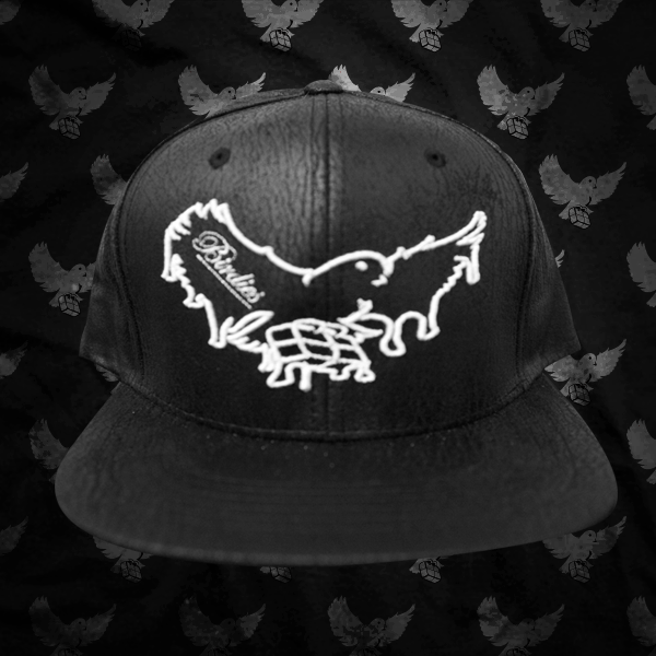 Image of Black/White Dripping Birdies Cracked Leather Snapback