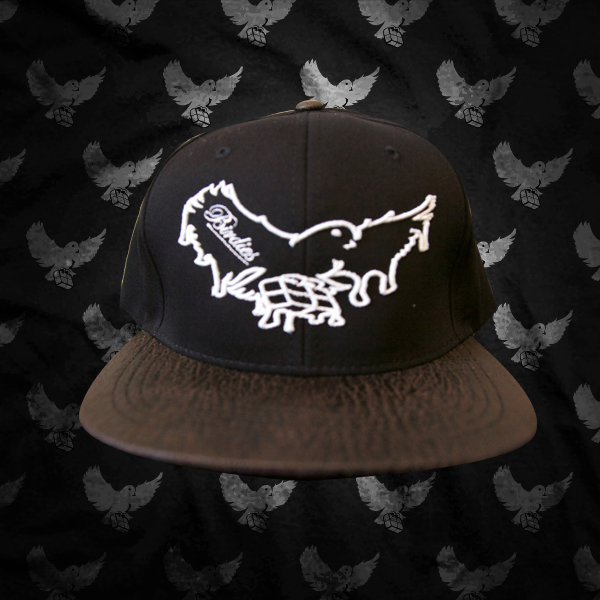 Image of Black/White/Brown Cracked Leather Brim Dripping Snapback