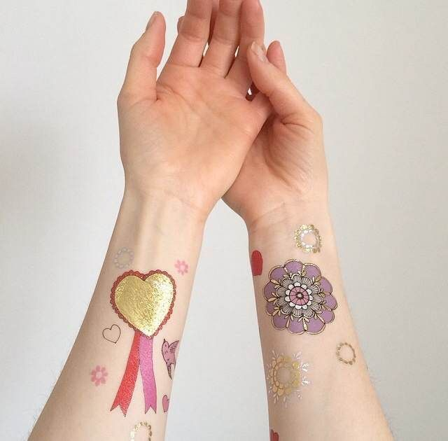 Love Temporary Tattoos with gold & silver foil