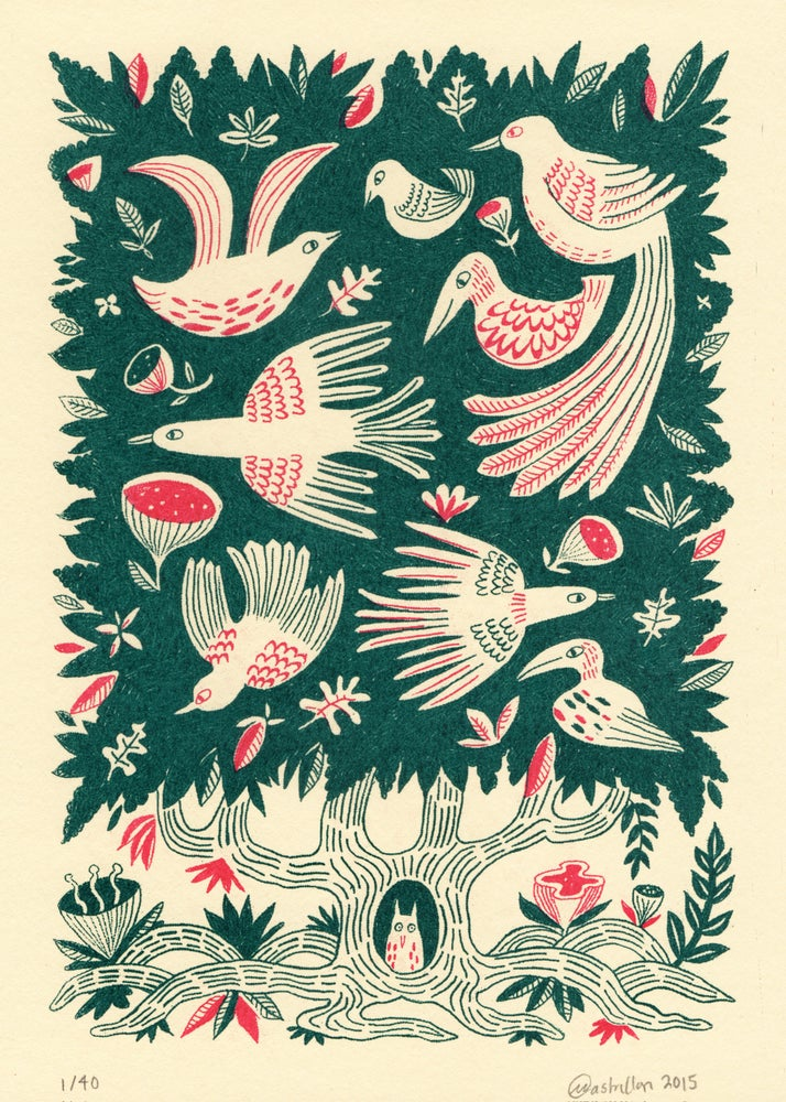 Image of 'Tree Bird' screen print