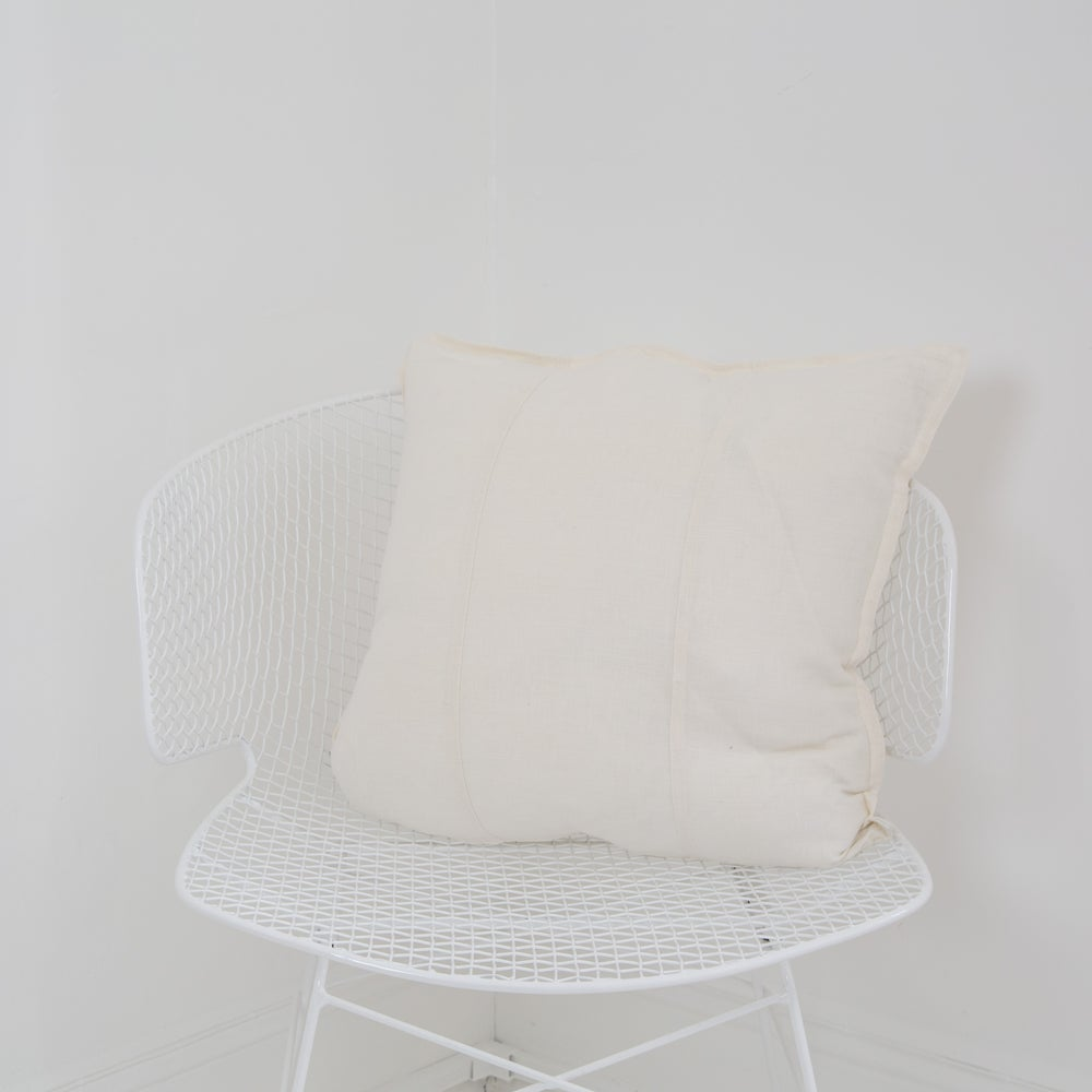 Image of Pre Washed Linen Cushion 50x50 - WHITE