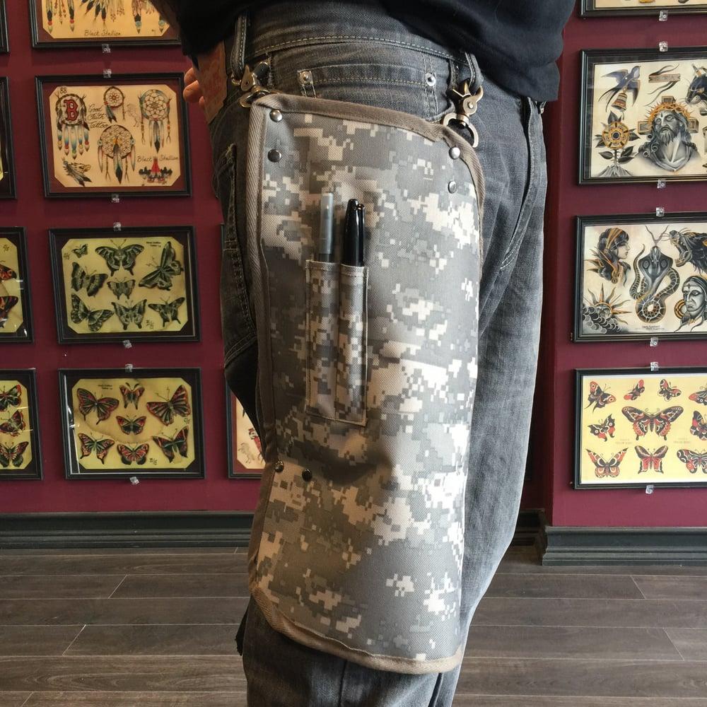 Image of camo vinyl/canvas leg apron