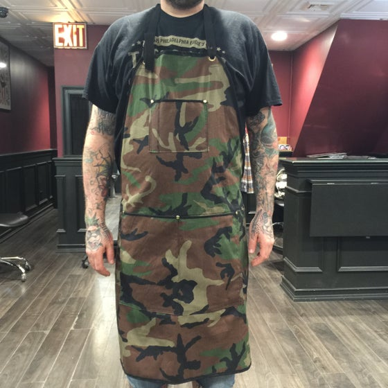 Image of old school camo butcher apron