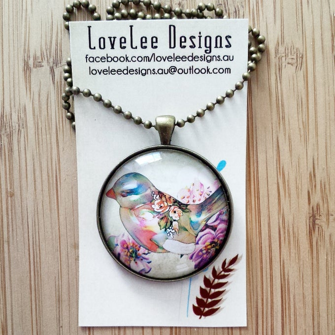 Image of 1.5inch pendant - LIMITED EDITION Vintage bird #1