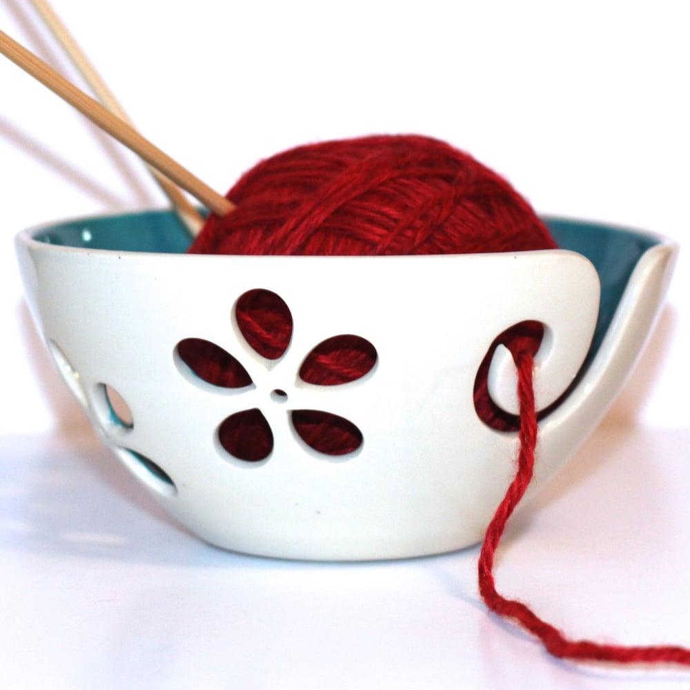 Image of Turquoise flower Yarn Bowl, Knitting Bowl, Crochet Bowl, Ready to Ship