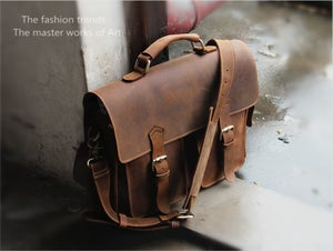"Image of Vintage Handmade Crazy Horse Leather Briefcase / Messenger Satchel 13"" MacBook 13"" Laptop Bag (n23)"
