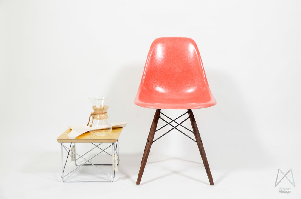 Image of Eames Herman Miller fiberglass shell chair Salmon Coral Orange DSW DSR DSX