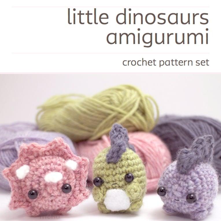 Image of crochet pattern set - amigurumi dinosaurs