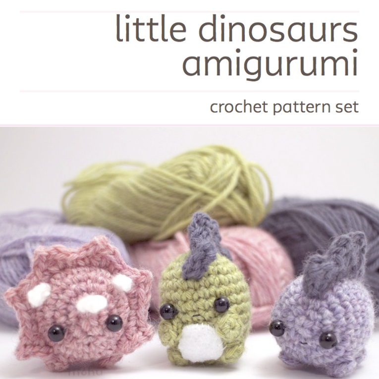 Image of crochet pattern set - amigurumi dinosaurs