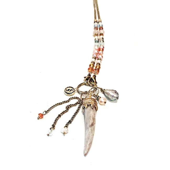 Image of Long Beaded Boho Beaded Antler Tassel Necklace