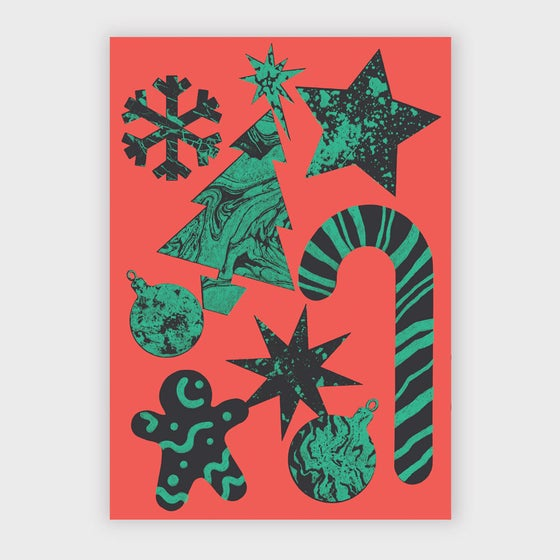 Image of Christmas Symbols Greetings Card