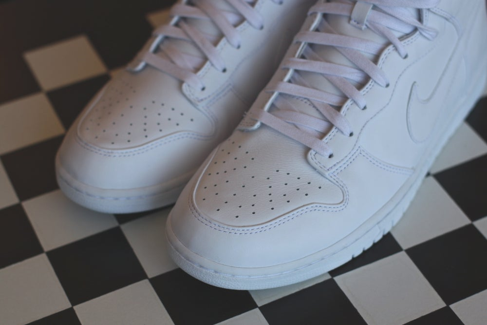 """Image of NIKE DUNK HIGH PREMIUM LUX """"PURE WHITE"""""""