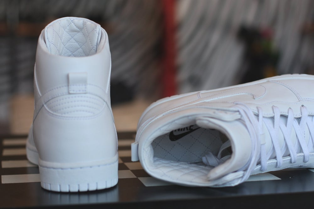 "Image of NIKE DUNK HIGH PREMIUM LUX ""PURE WHITE"""