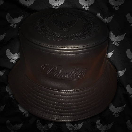 Image of Black Leather Bucket Hat