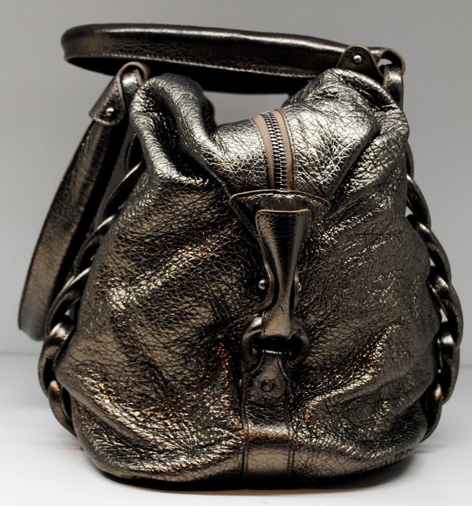Image of Salvatore Ferragamo Metallic Braided Satchel
