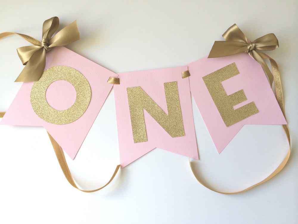 Next Prev Image Of HIGH CHAIR Banner In Pink Gold 1st Birthday Decorations ONE High